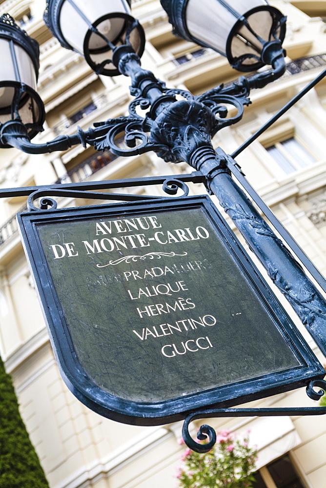 Sign for exclusive shops, Monaco-Ville, Monaco, Europe