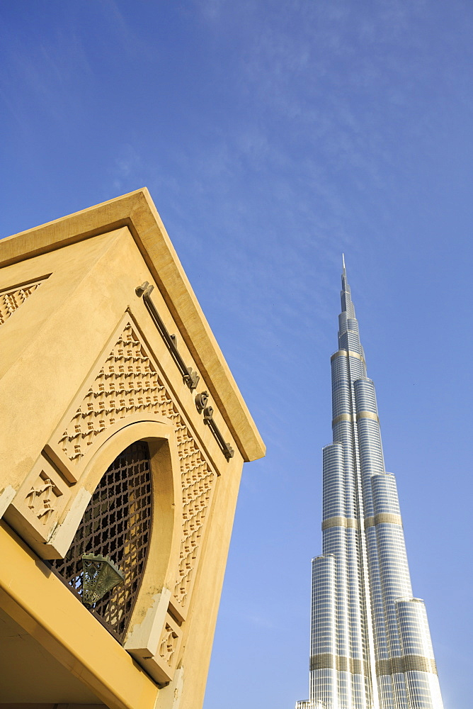 Burj Khalifa and Souk Al Bahar, Dubai, United Arab Emirates, Middle East