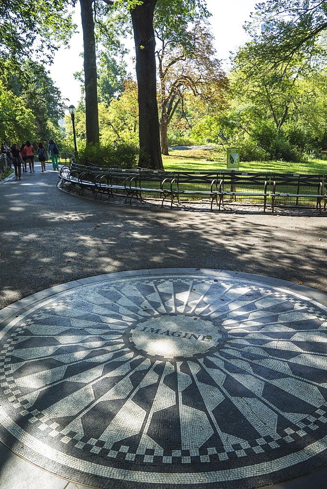 Strawberry Fields Memorial, Imagine Mosaic in memory of former Beatle John Lennon, Central Park, Manhattan, New York City, New York, United States of America, North America