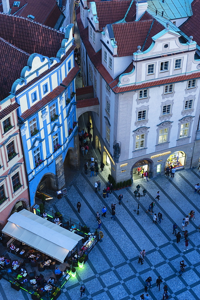 High angle view of buildings in Old Town Square at dusk, UNESCO World Heritage Site, Prague, Czech Republic, Europe