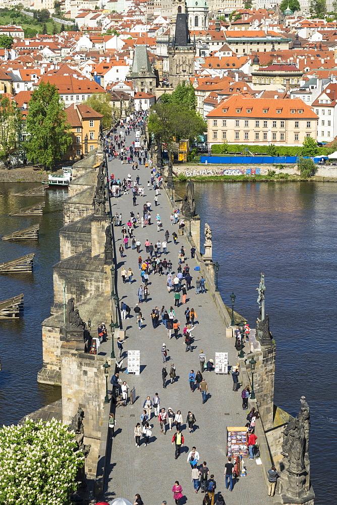 Tourists on Charles Bridge, UNESCO World Heritage Site, Prague, Czech Republic, Europe - 808-1532