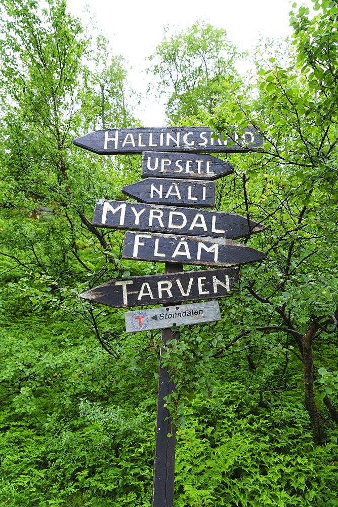 Signpost near Flam, Norway, Scandinavia, Europe - 808-1551