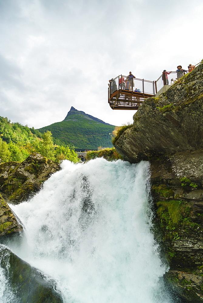 Overlook on small waterfall in Geiranger, Norway, Scandinavia, Europe - 808-1556