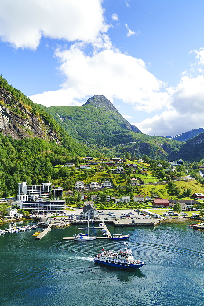The village of Geiranger is an improtant cruise ship port at the head of Geirangerfjord, UNESCO World Heritage Site, Norway, Scandinavia, Europe