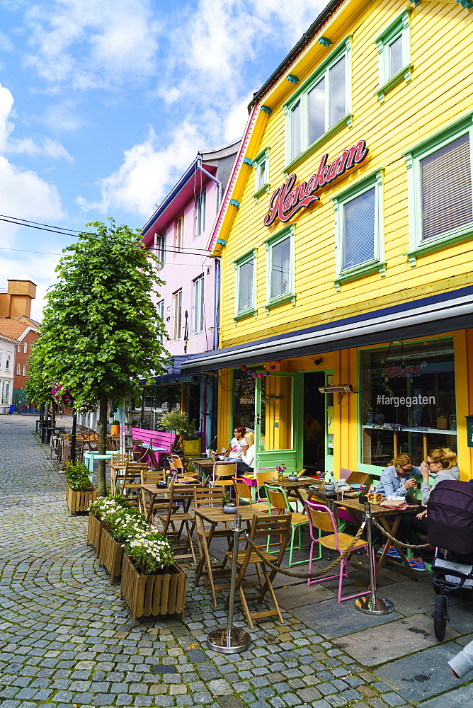 Ovre Holmegate, a colourful street of shops and cafes in the centre of Stavanger, Norway, Scandinavia, Europe - 808-1591