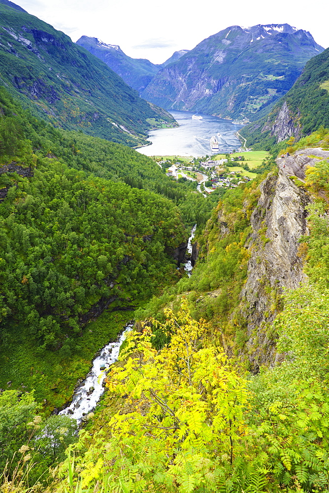 High view of Geiranger and Geirangerfjord. UNESCO World Heritage Site, Norway, Scandinavia, Europe - 808-1604