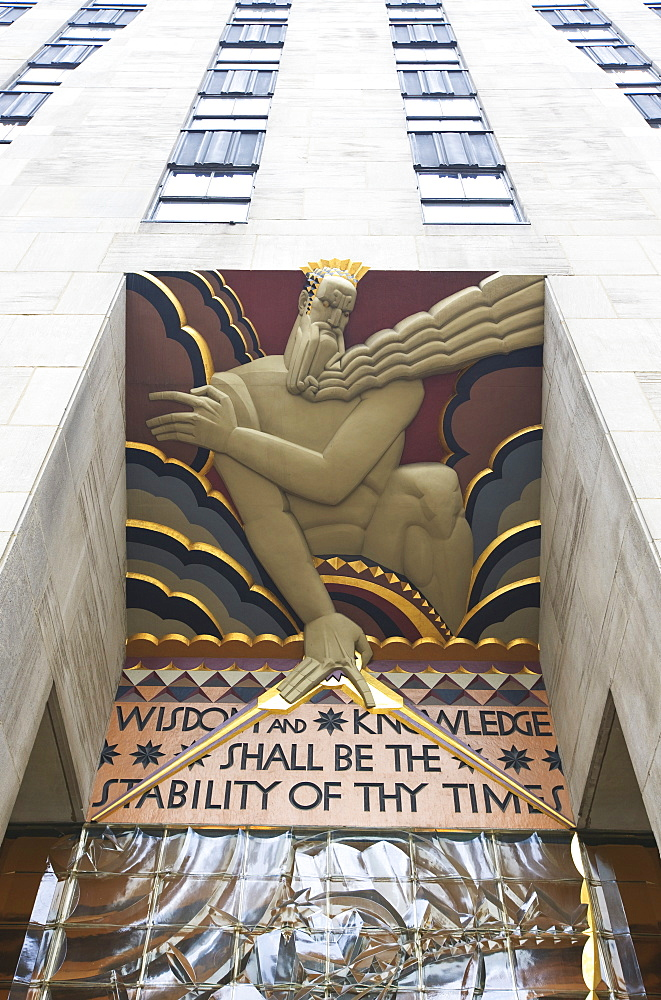 Wisdom by Lee Lawrie, part of the artwork that decorates the facade of the Rockefeller Center, Manhattan, New York City, New York, United States of America, North America