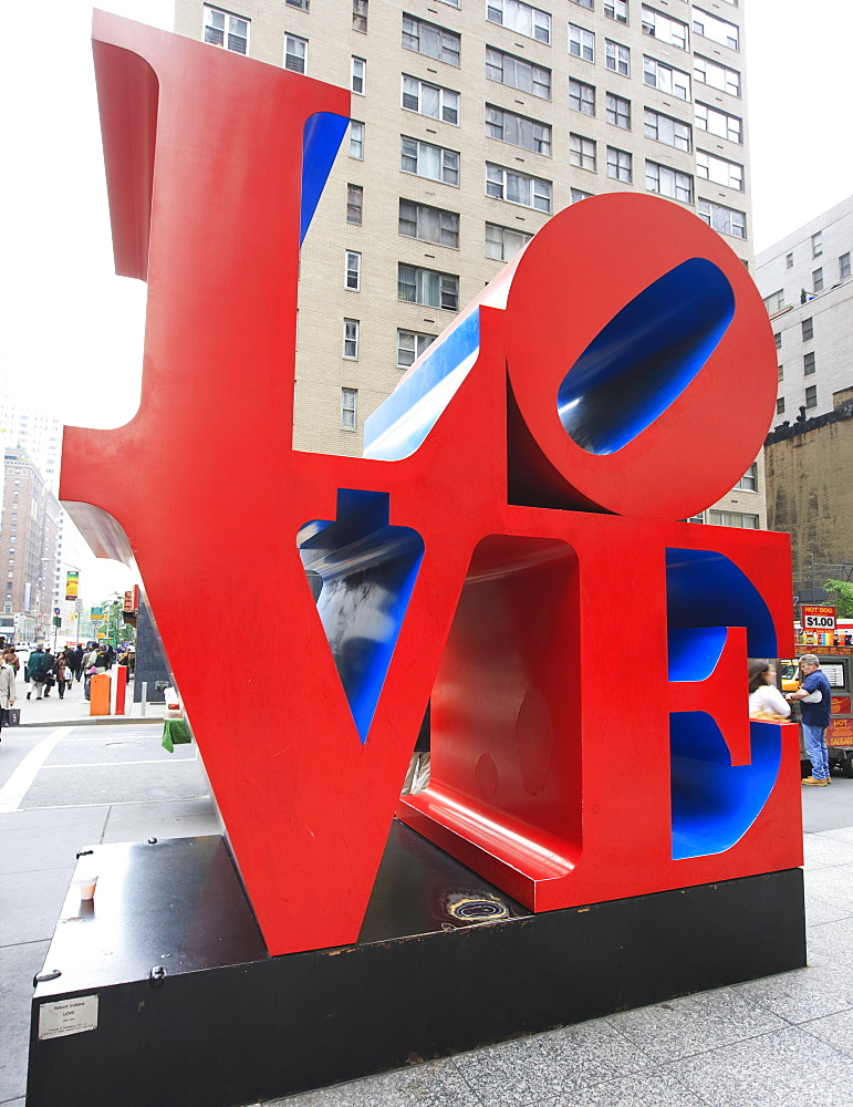 The pop art Love sculpture by Robert Indiana, Sixth Avenue, Manhattan, New York City, New York, United States of America, North America