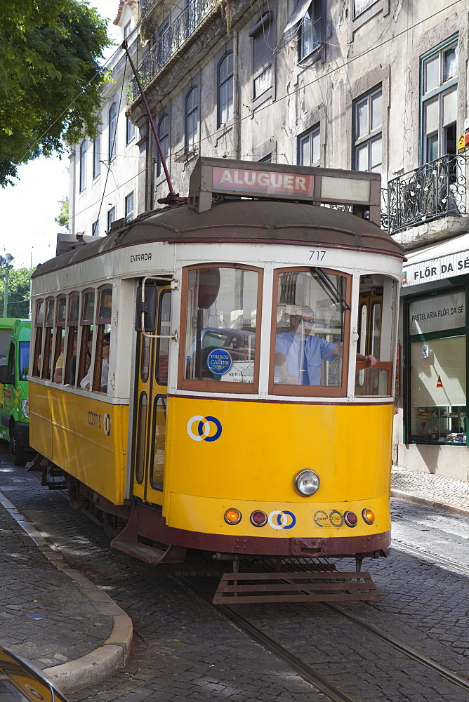 Tram in the Alfama district, Lisbon, Portugal, Europe