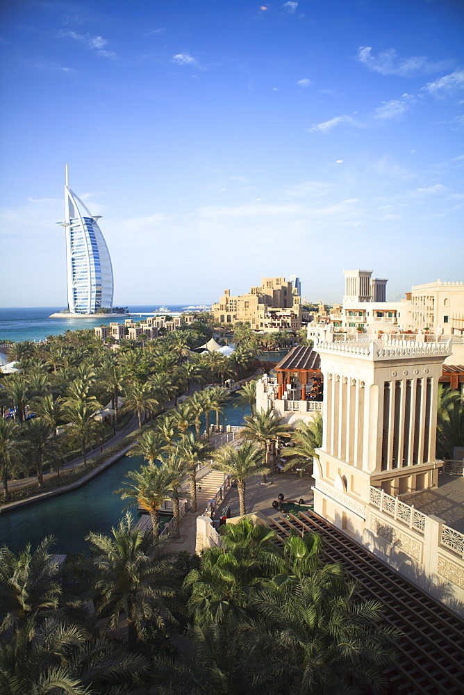 Burj Al Arab seen from the Madinat Jumeirah Hotel, Jumeirah Beach, Dubai, United Arab Emirates, Middle East