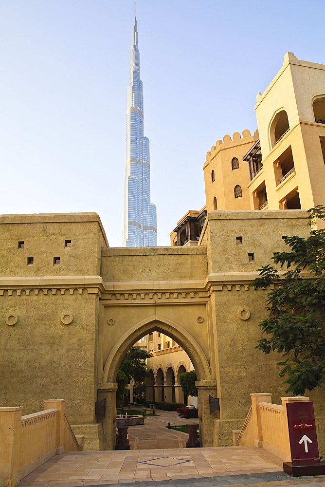 Downtown district with the Burj Khalifa and Palace Hotel, Dubai, United Arab Emirates, Middle East