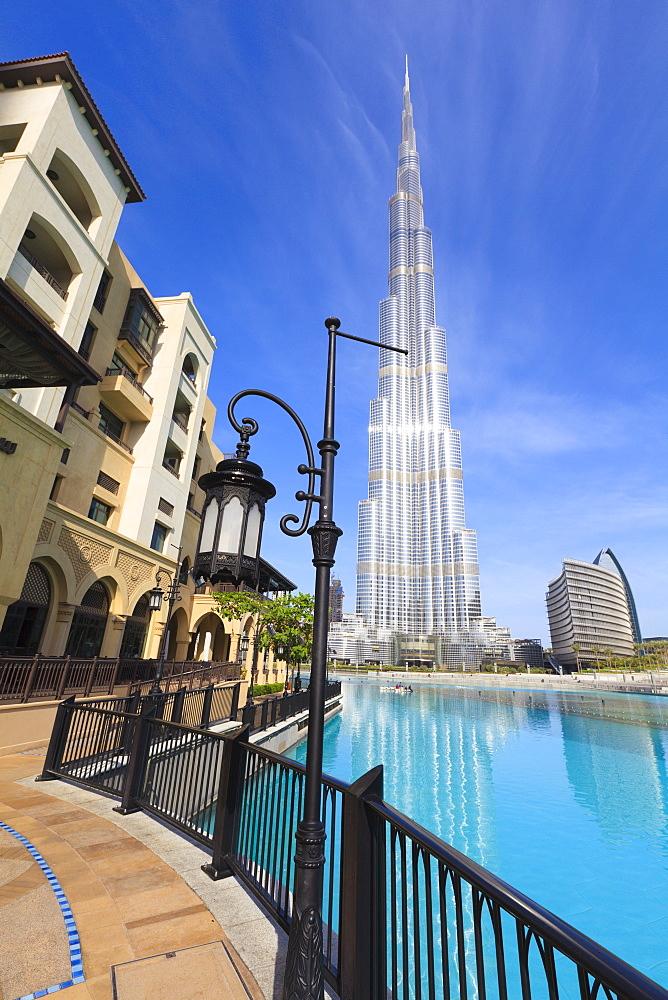 Burj Khalifa, the tallest man made structure in the world at 828 metres, and Dubai Mall, Downtown Dubai, Dubai, United Arab Emirates, Middle East