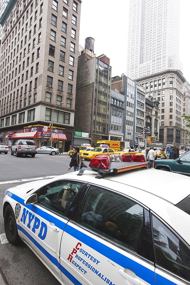 Police car on Broadway, Manhattan, New York City, New York, United States of America, North America