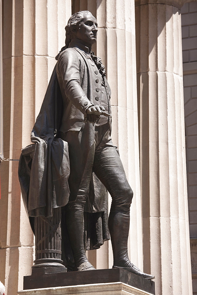 Statue of George Washington standing outside the Federal Hall, Wall Street, New York City, New York, United States of America, North America