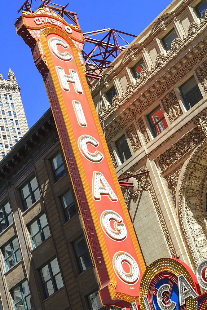 The Chicago Theater sign has become an iconic symbol of the city, Chicago, Illinois, United States of America, North America