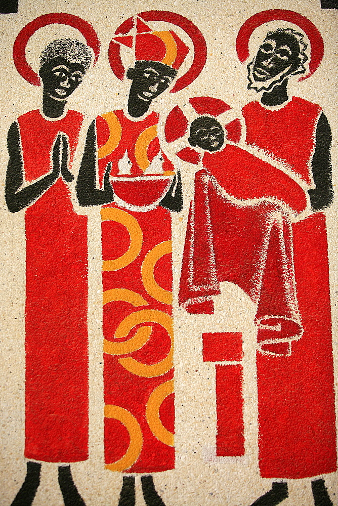 Presentation of the baby Jesus at the Temple, fresco designed and painted in 1963 by Dom Georges Saget, Keur Moussa Abbey Church, Keur Moussa, Senegal, West Africa, Africa