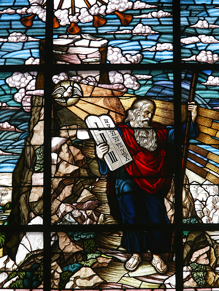 Stained glass of Moses holding the tablets of the Law, Vienna, Austria, Europe