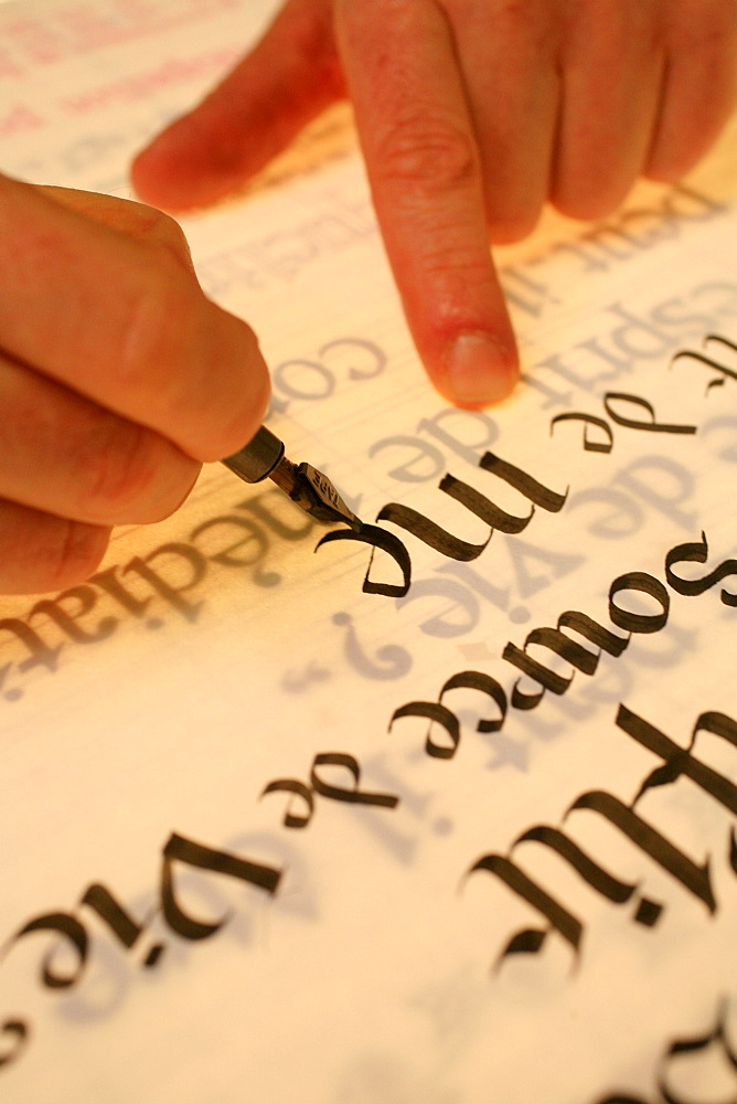 Calligraphy at Belloc Abbey, Urt, Pyrenees Atlantique, France, Europe