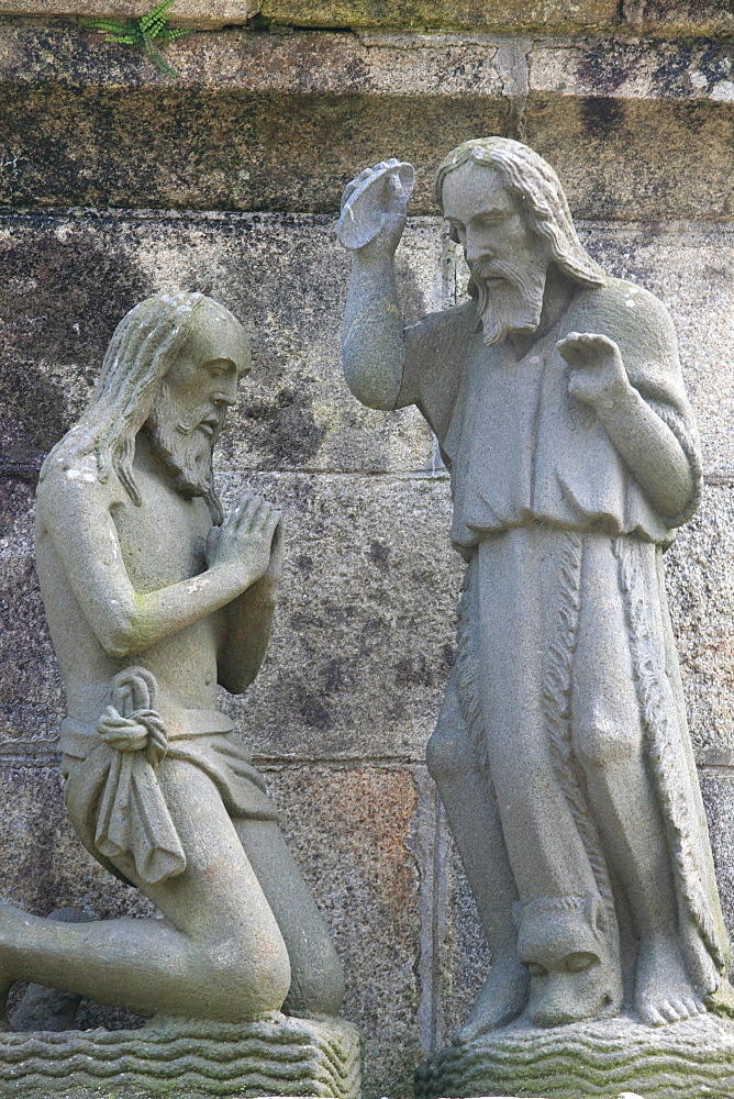 Baptism in the Life of Jesus on the Plougonven calvary, Plougonven, Finistere, Brittany, France, Europe