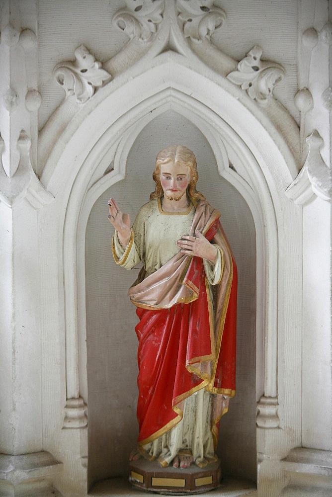 Altarpiece showing Christ blessing, Saint Germain church, La Ferte Loupiere, Yonne, France, Europe