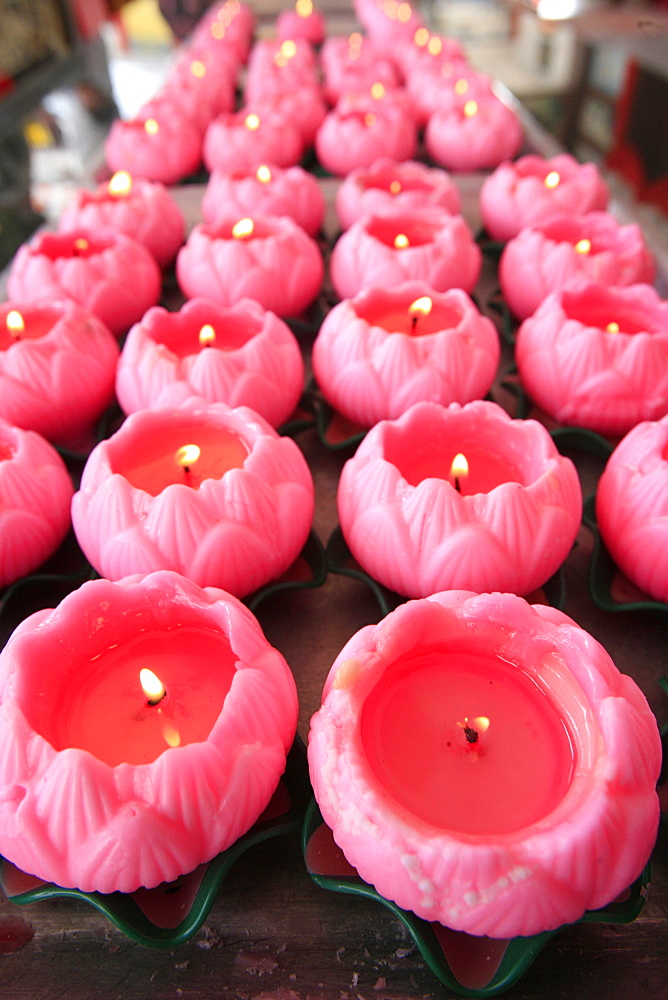 Lotus-shaped candles, Thean Hou Chinese temple, Kuala Lumpur, Malaysia, Southeast Asia - 809-1694