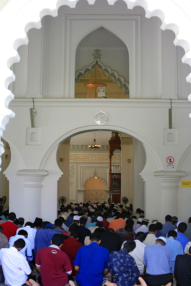 Friday prayers, Kapitan Kling Mosque, Penang, Malaysia, Southeast Asia