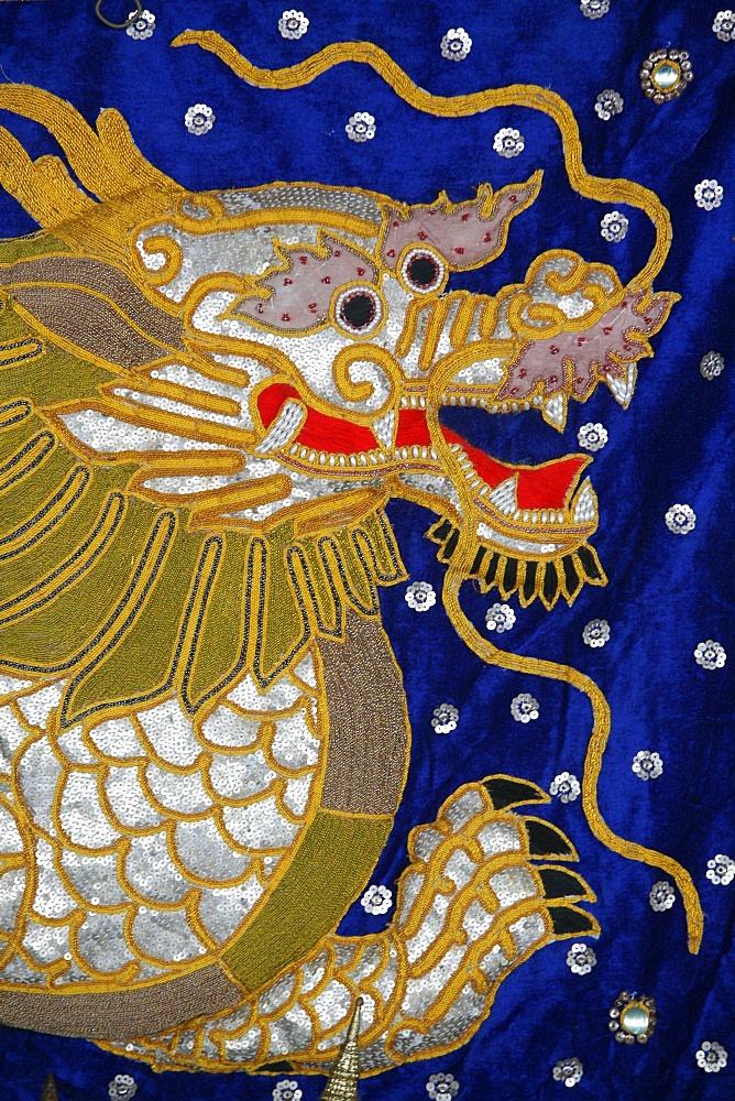 Dragon tapestry, Bangkok, Thailand, Southeast Asia, Asia