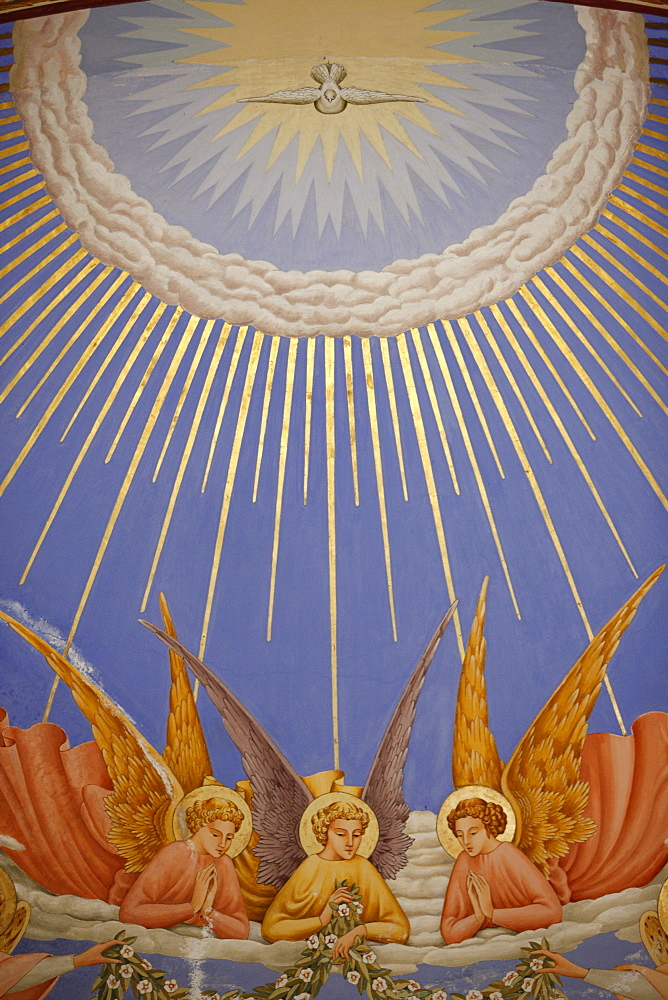 Detail of angels in a fresco in the Visitation Church in Ein Kerem, Israel, Middle East