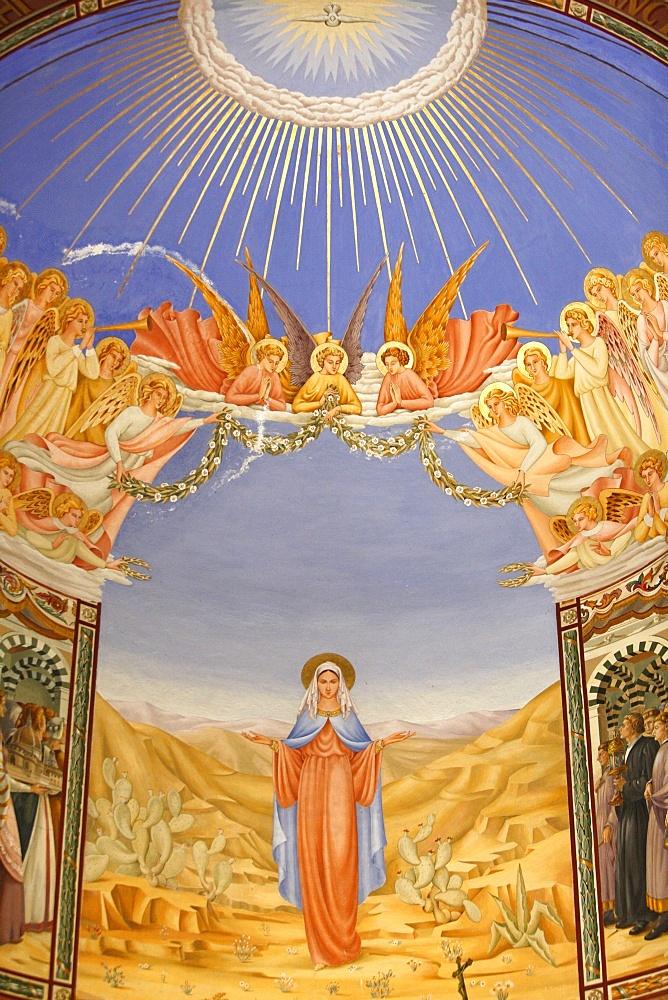 Fresco in the Visitation Church in Ein Kerem, Israel, Middle East
