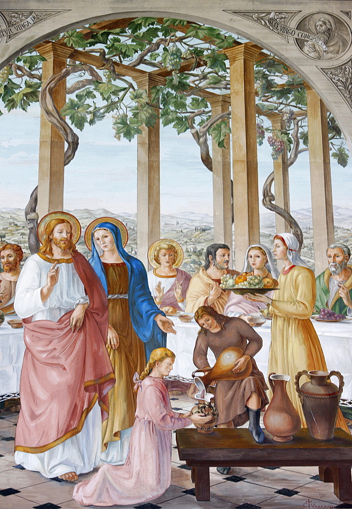 Painting of the Wedding at Cana, in the Visitation Church in Ein Kerem, Israel, Middle East