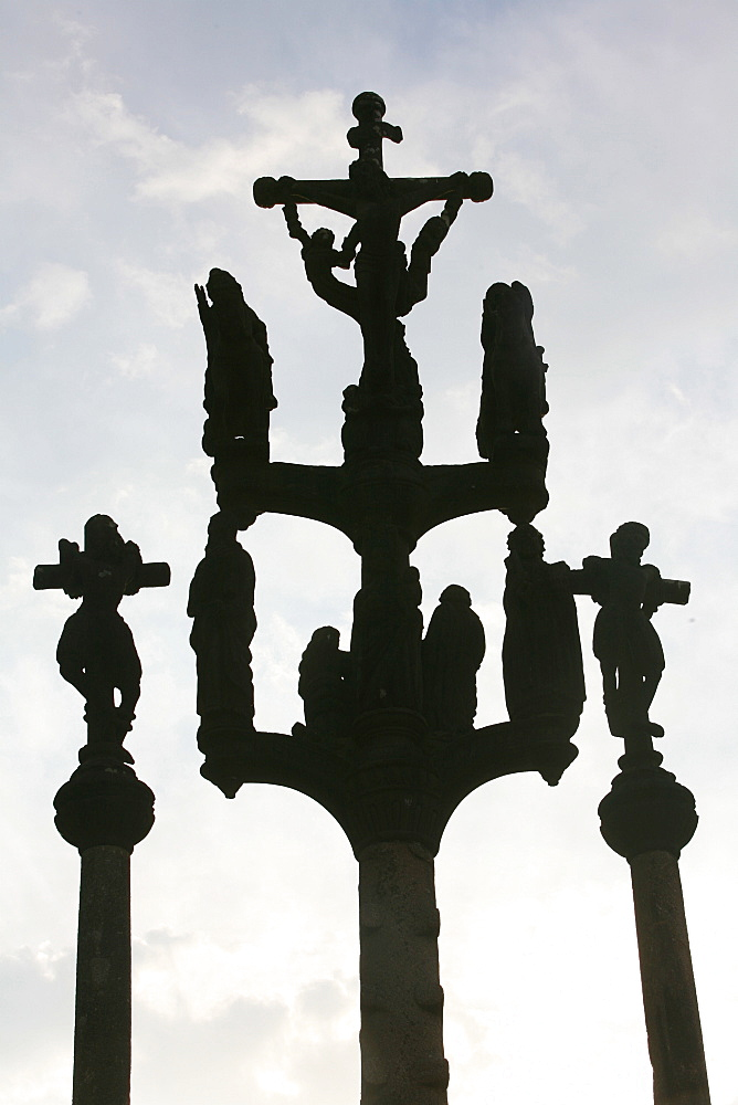 Saint-Thegonnec calvary, depicting the Crucifixion, Saint Thegonne, Finistere, Brittany, France, Europe