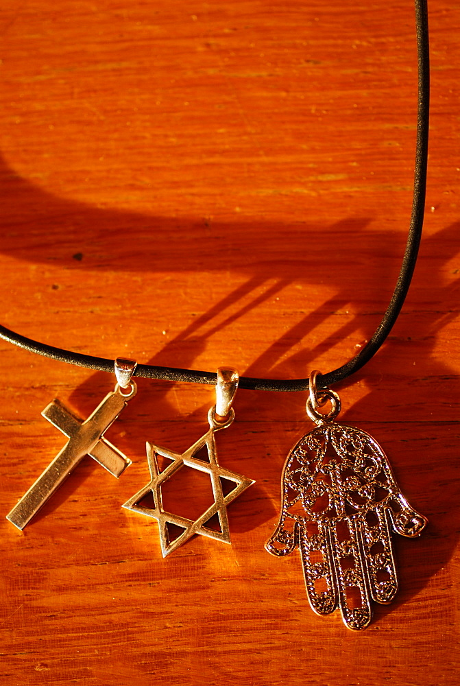 Symbols of the three monotheistic religions, Paris, France, Europe