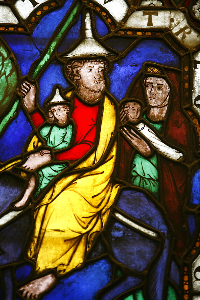 Stained glass of Moses and the Exodus, Klosterneuburg, Austria, Europe