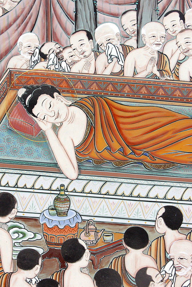 After 45 years of teaching the Dharma, the Buddha passed into Parinirvana, scene from the Life of Buddha, Seoul, South Korea, Asia