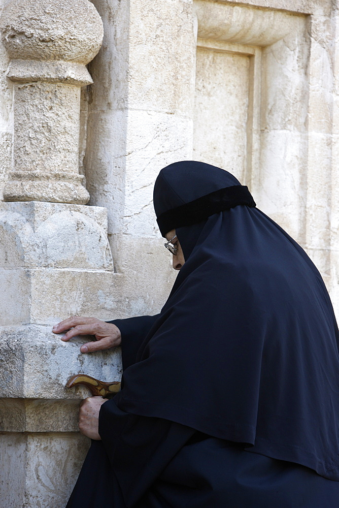 Nun in Mary Magdalene Russian Orthodox church on Mount of Olives, Jerusalem, Israel, Middle East