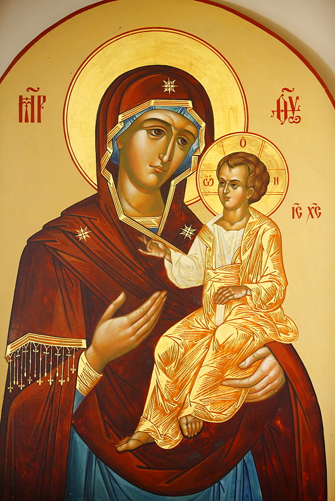 Icon of the Virgin and Child in Mary Magdalene Russian Orthodox church on Mount of Olives, Jerusalem, Israel, Middle East