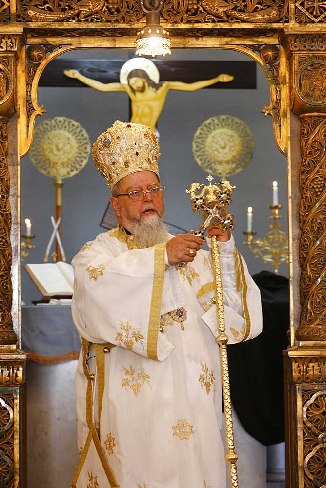 Sunday Mass celebrated by Bishop Elias Chacour, Haifa Melkite Cathedral, Haifa, Israel, Middle East