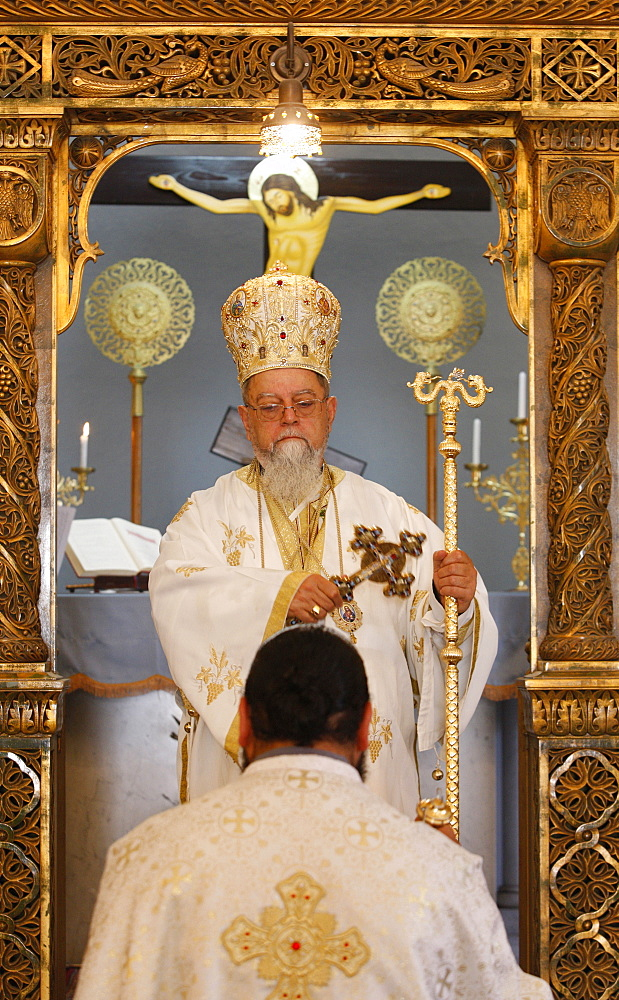 Sunday Mass celebrated by Bishop Elias Chacour, Haifa Melkite Cathedral, Haifa, Israel, Middle East - 809-2357