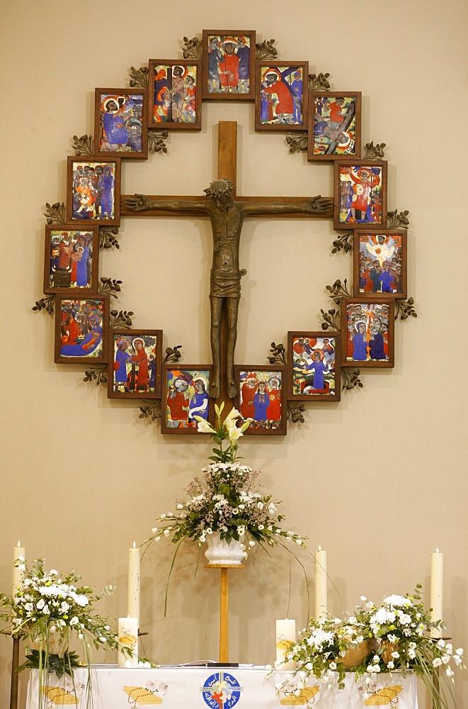 Catholic church altar in Palestine, Beit Jala, Palestine National Authority, Middle East