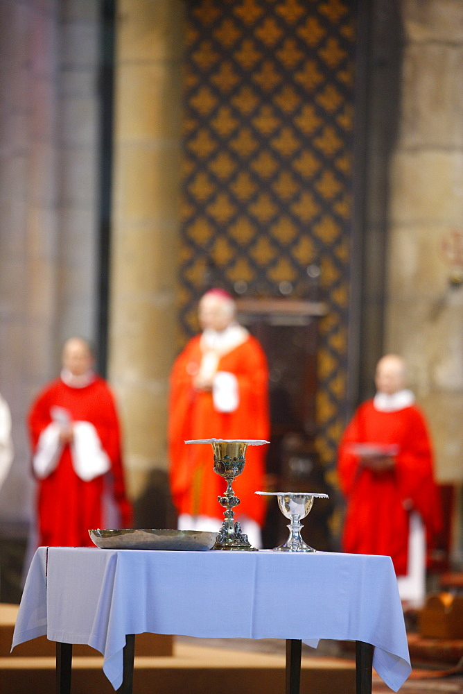 Catholic Mass in Reims cathedral, Reims, Marne, France, Europe