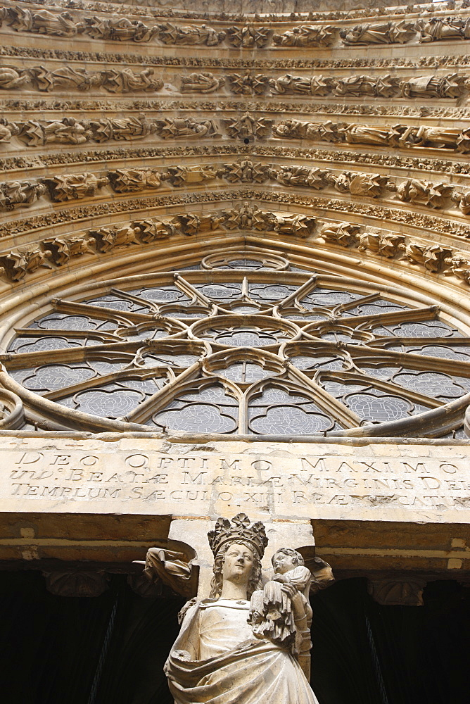 Mary's gate, Reims Cathedral, UNESCO World Heritage Site, Reims, Marne, France, Europe