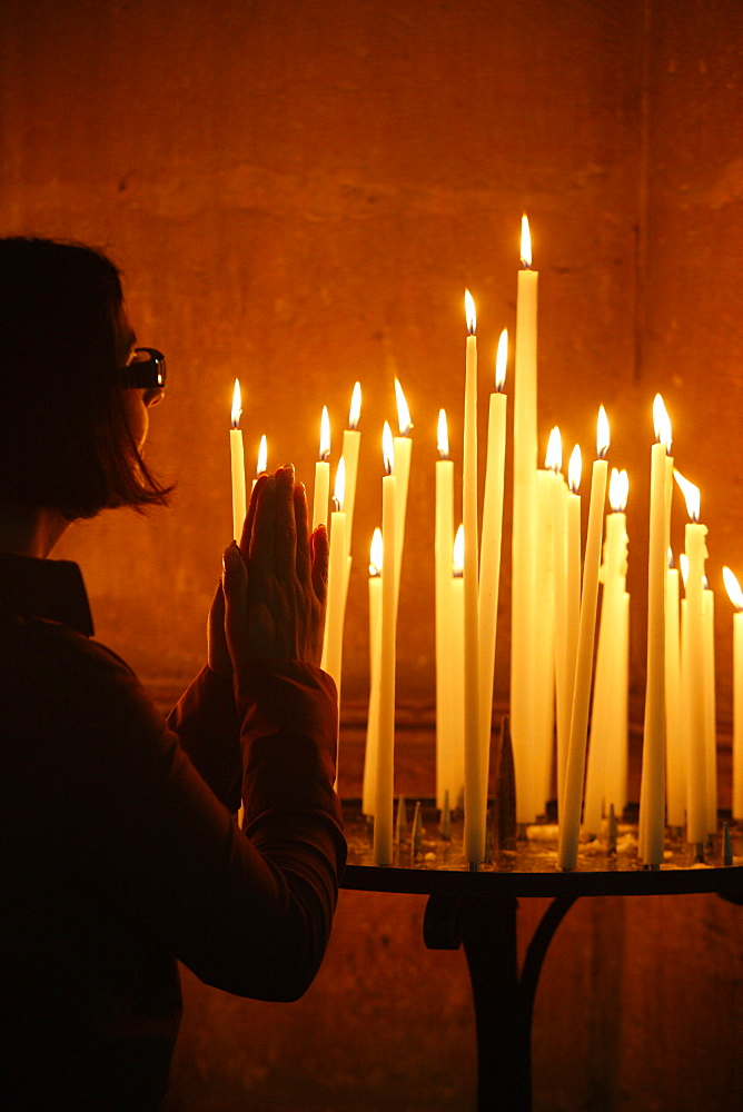 Church candles, Reims cathedral, Reims, Marne, France, Europe