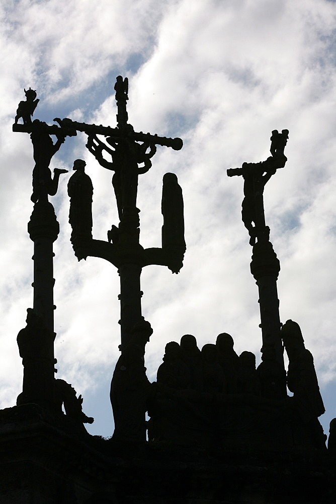 Pleyben calvary depicting the Crucifixion, Pleyben, Finistere, Brittany, France, Europe