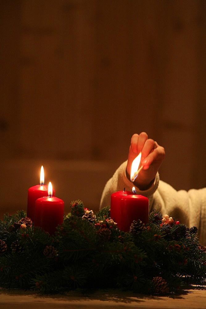 Advent candles, Haute Savoie, France, Europe