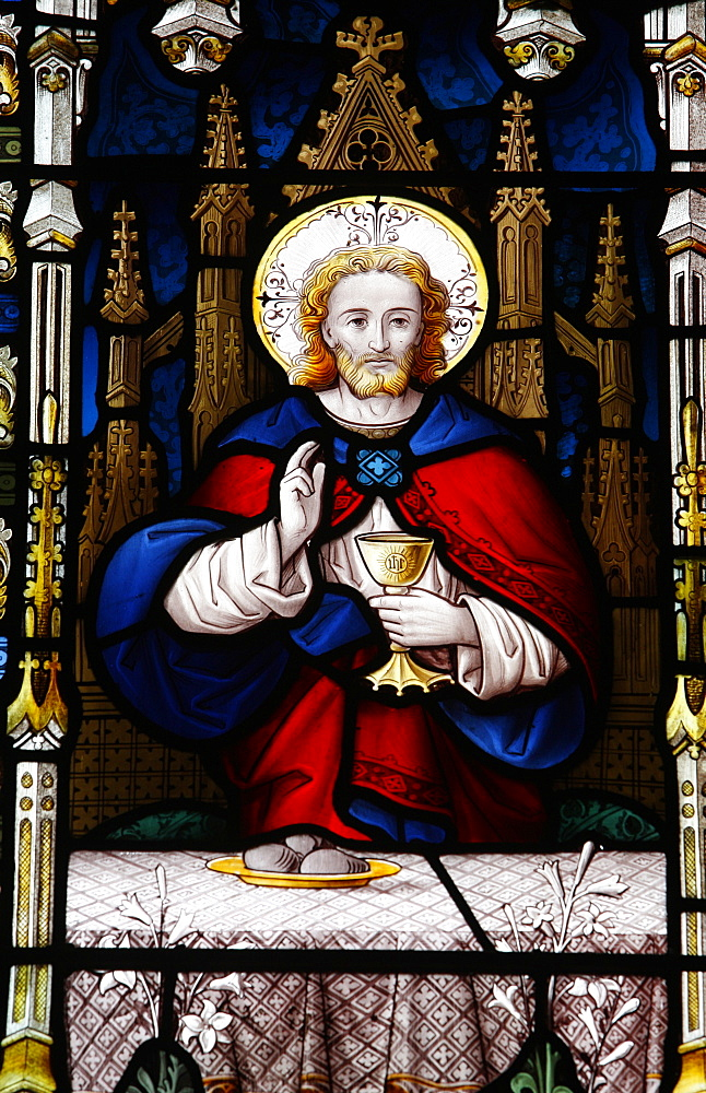 Jesus at the Last Supper, 19th century stained glass in St. John's Anglican church, Sydney, New South Wales, Australia, Pacific