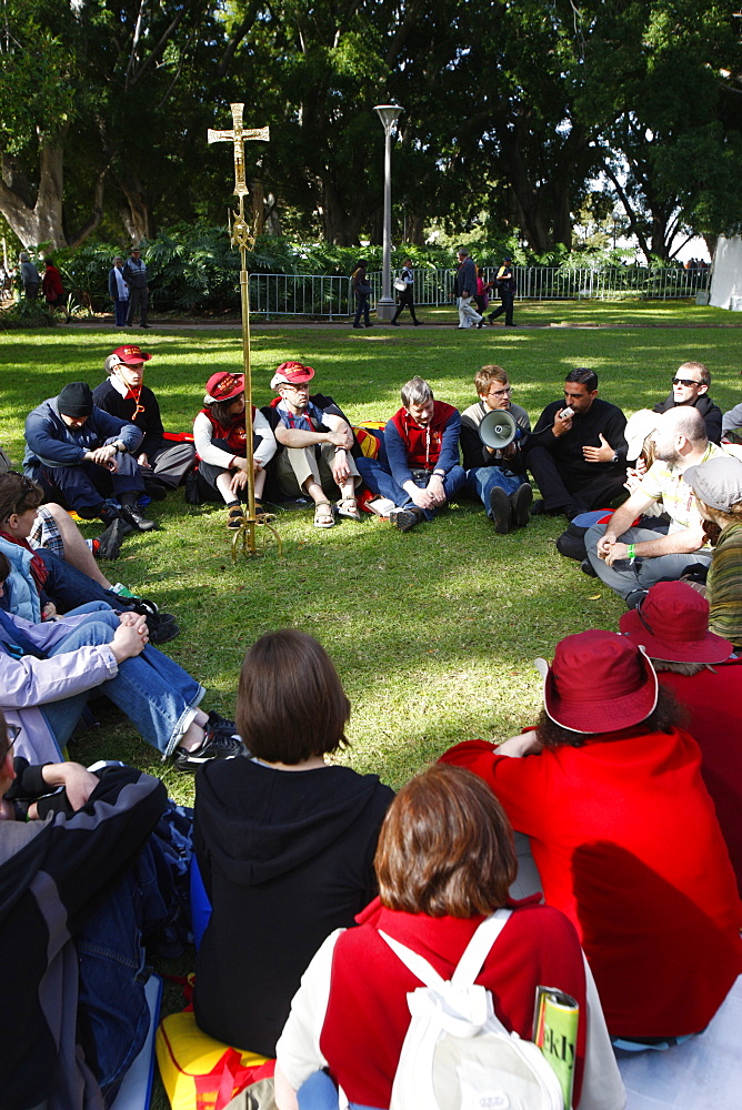 Outside Mass in Hyde Park during  World Youth Day, Sydney, New South Wales, Australia, Pacific