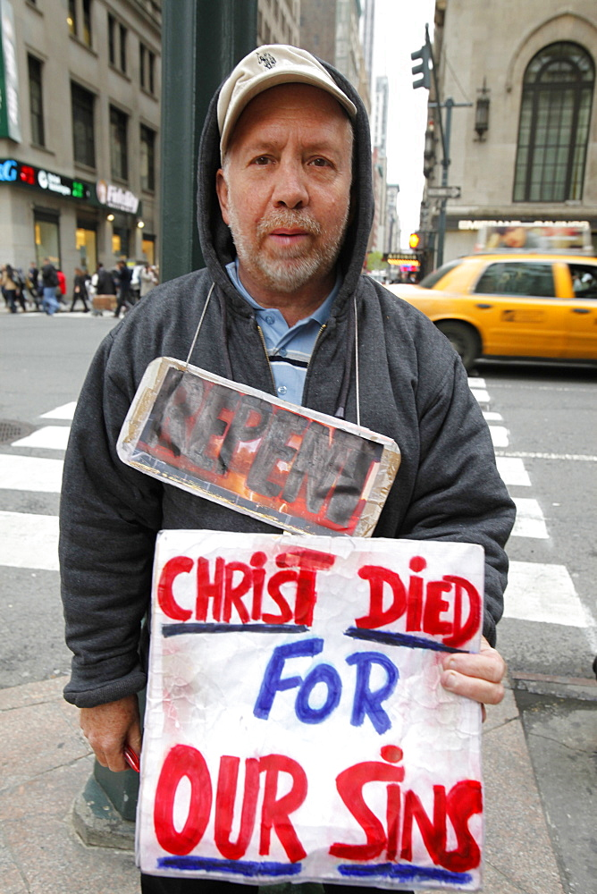 Street preacher, New York, United States of America, North America