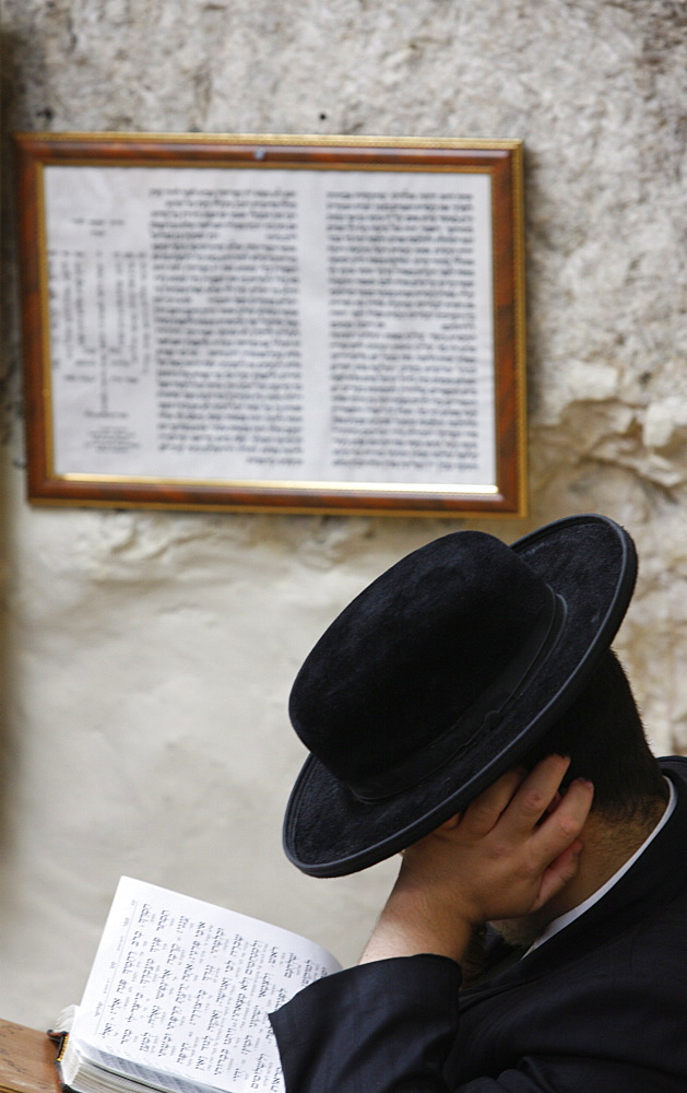 Orthodox Jew at Nahabit Shim'on synagogue in Jerusalem, Israel, Middle East