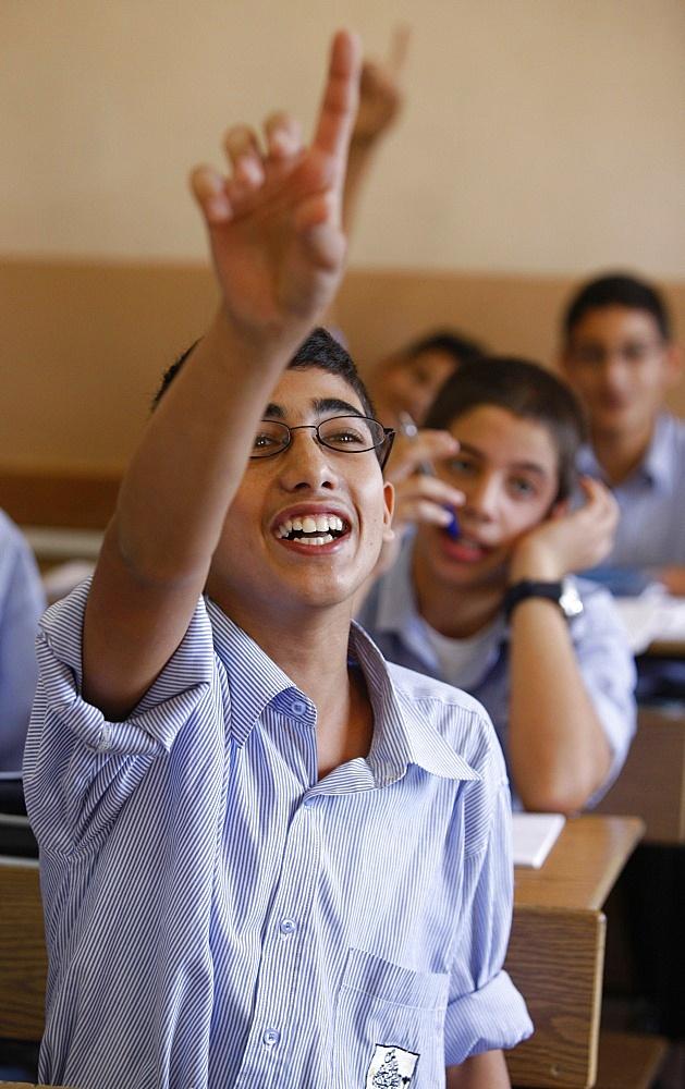 Palestinian students at Beit Jala Catholic Seminary, Beit Jala, Palestinian Authority, Middle East