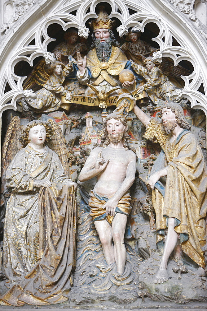 Christ's Baptism, Amiens Cathedral, UNESCO World Heritage Site, Amiens, Somme, France, Europe